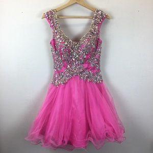 Tony Bowls Beaded Pink Dress